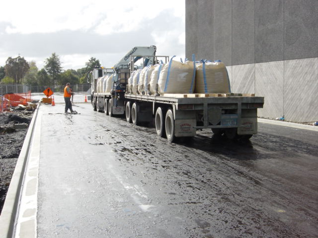 dirt being delivered for the green roof